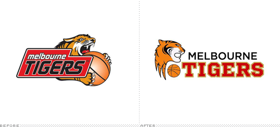 Melbourne Tigers Logo, Before and After