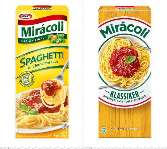 Miracoli Packaging, Before and After