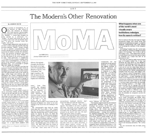 New York Times Article on MoMA
