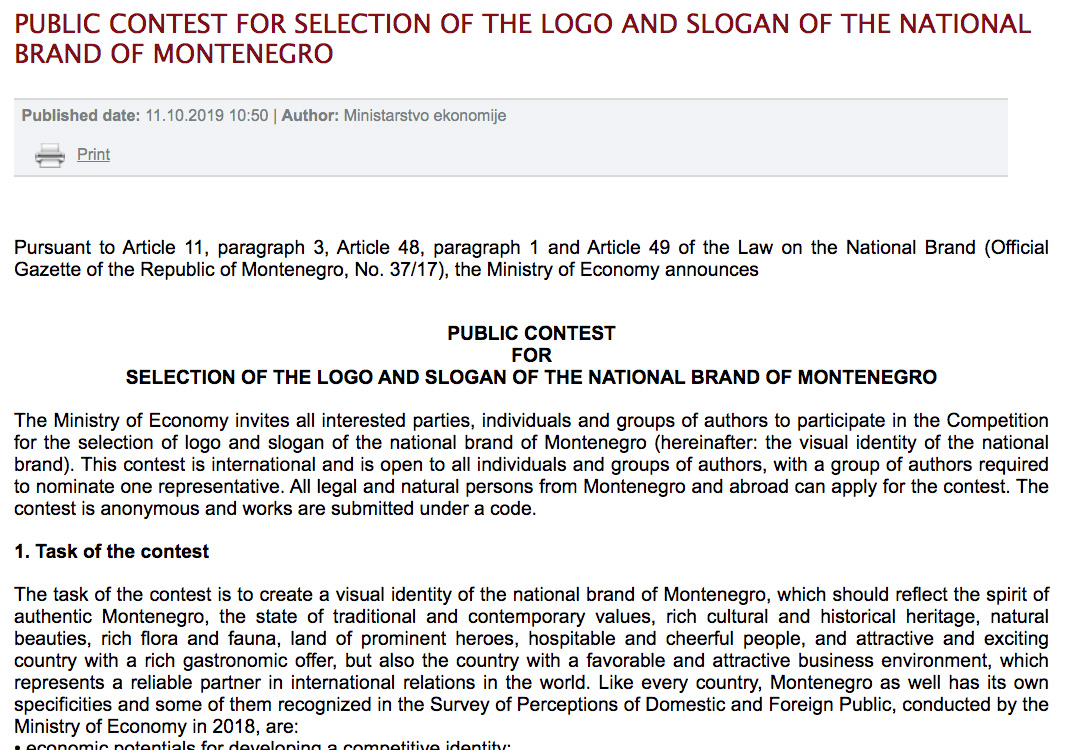 Contest for Montenegro Nation Branding