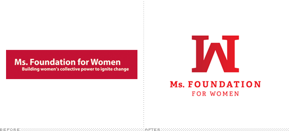 Ms. Foundation for Women Logo, Before and After