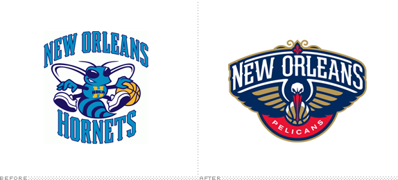 New Orleans Pelicans Logo, Before and After