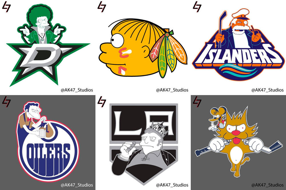 NHL Logos with The Simpsons