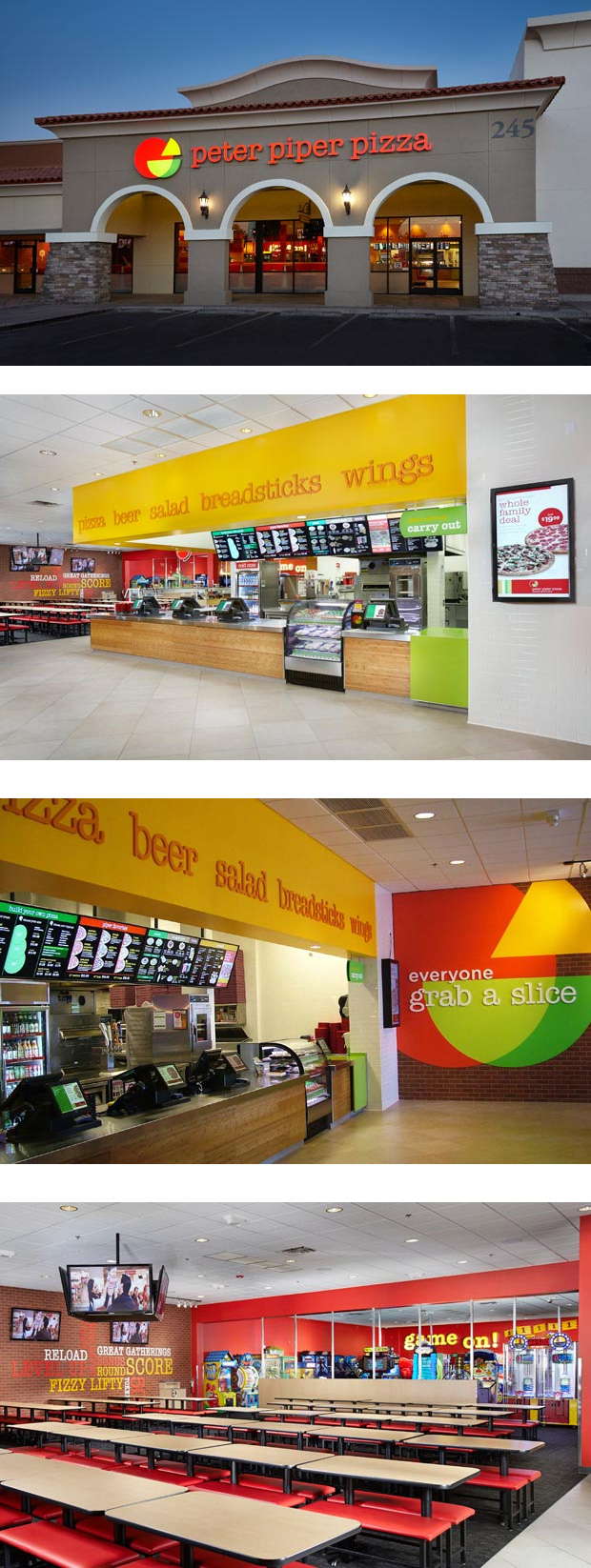 New Logo and Restaurant Design for Peter Piper Pizza by WD Partners