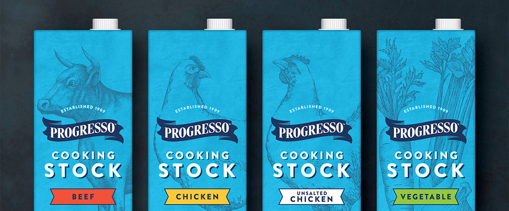 New Packaging for Progresso Cooking Stocks by Hornall Anderson