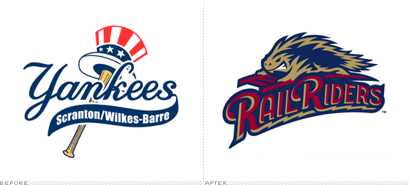 Scranton/Wilkes-Barre RailRiders Logo, Before and After