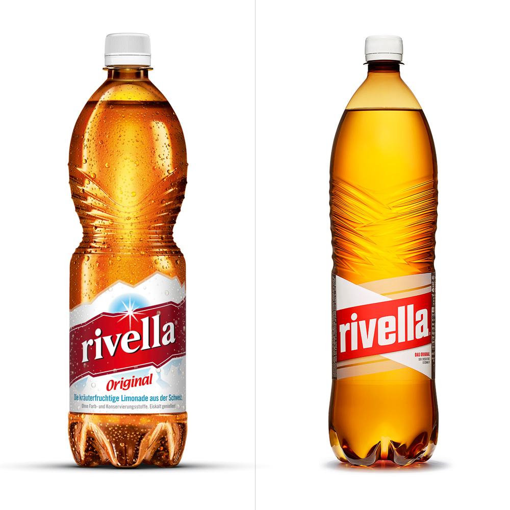 Brand new new logo bottle and packaging for rivella by for Decor drink bottle