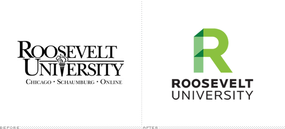 Roosevelt University Logo, Before and After