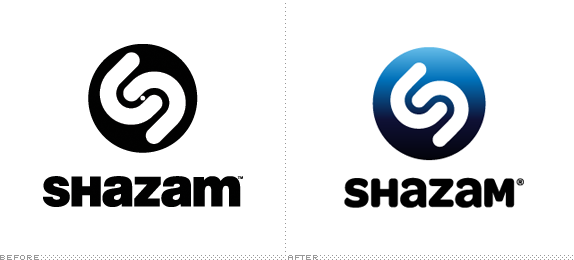 Shazam Logo, Before and After