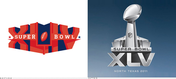 Super Bowl Logo, Before and After