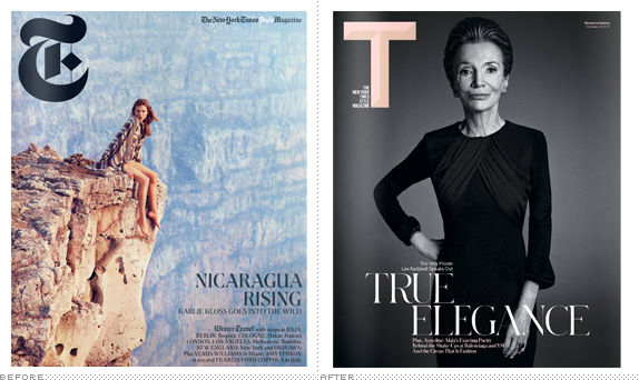 T Magazine Logo, Before and After