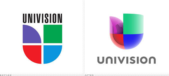 Univision Logo, Before and After