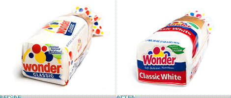 Wonder Bread Packaging, Before and After