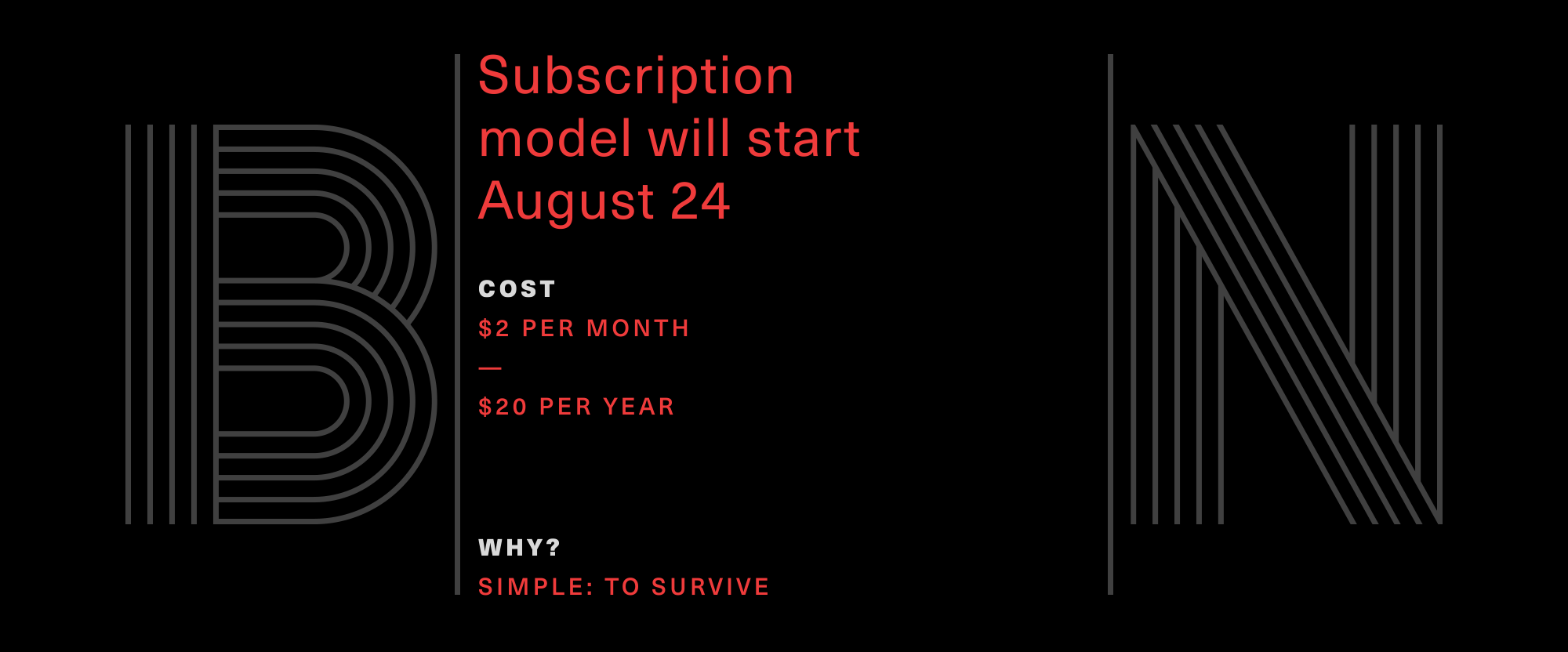 Brand New will Shift to Subscription Model