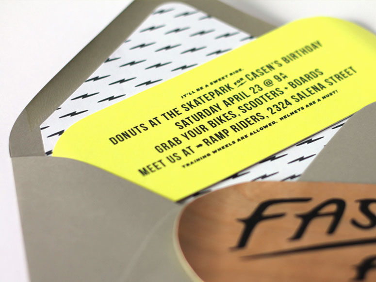 Fast &  Four Skateboard Deck Invitation