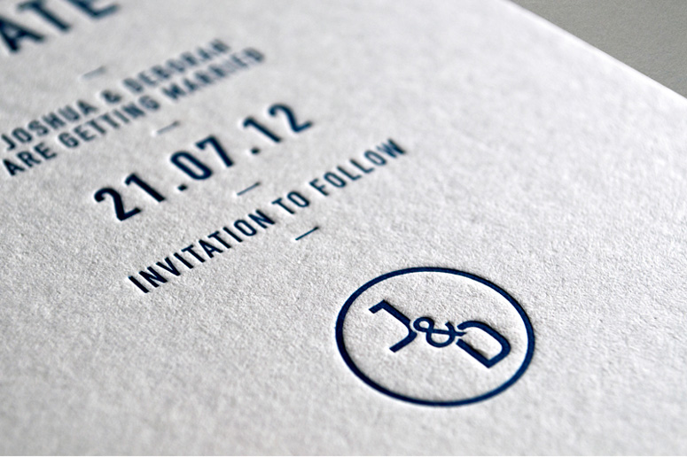 save the date monogram close-up