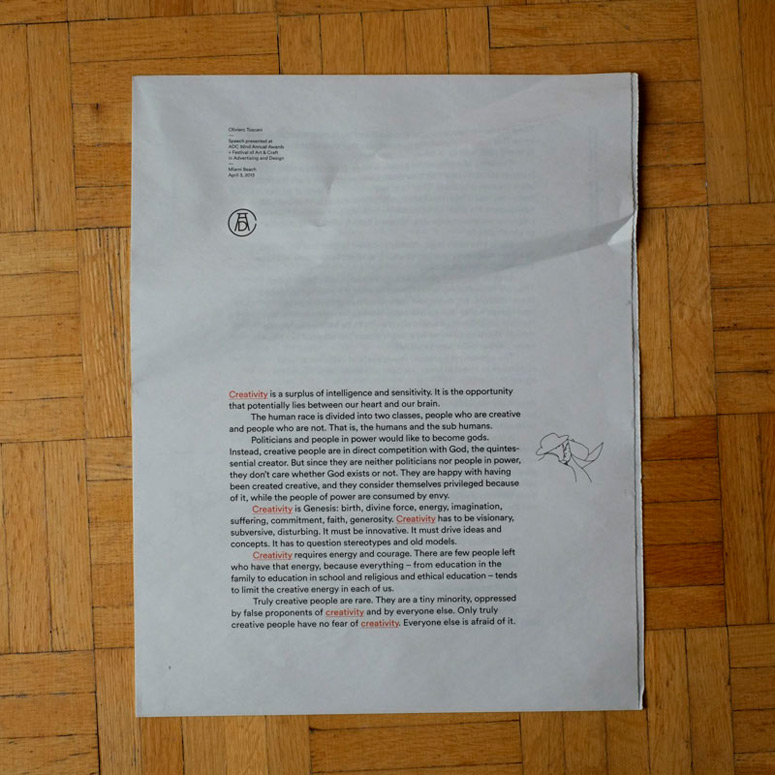 ADC Toscani Speech Newspaper and Posters
