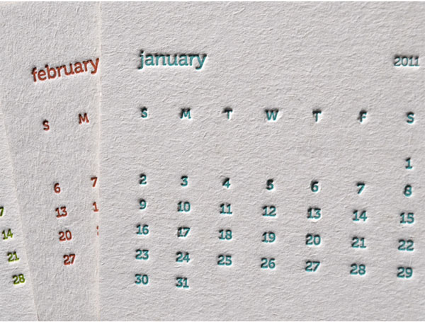 Meadowlark Creative Letterpress Coaster Calendar