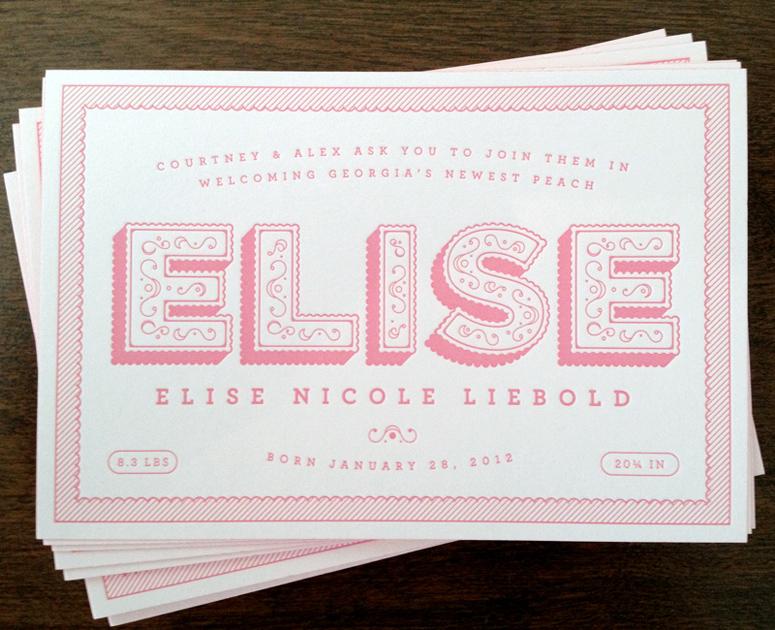 Elise Nicole Liebold Birth Announcement