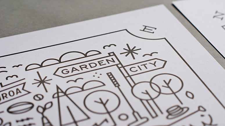 Garden City Gold Foil Art Prints