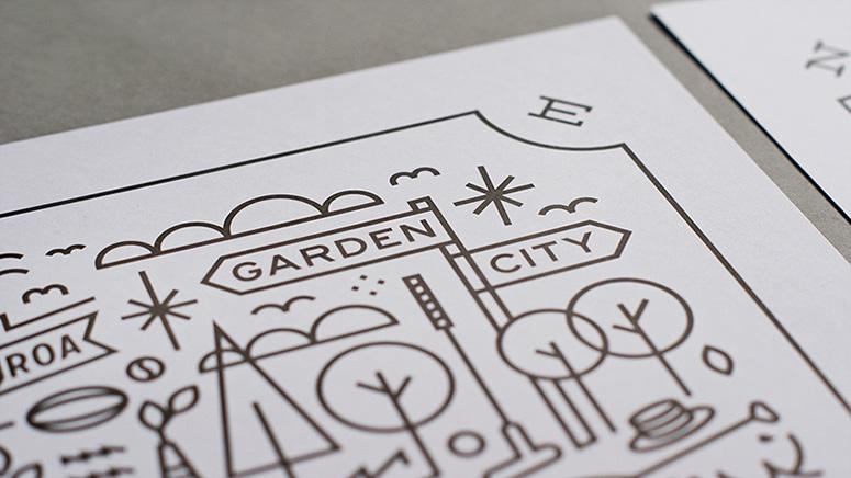 Garden City Gold Foil Art Prints