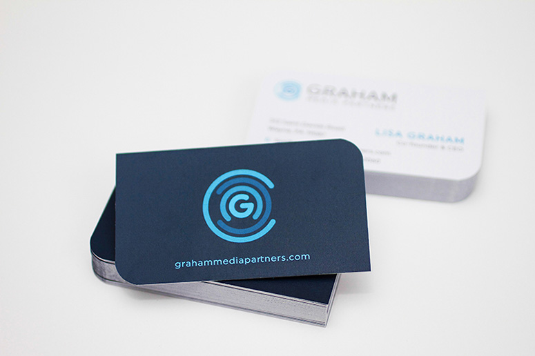 FPO Graham Media Partners Die Cut Business Cards
