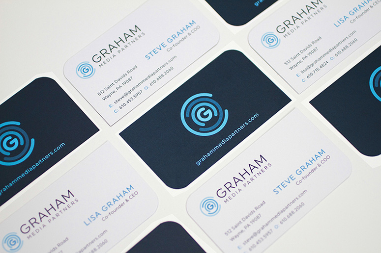 Graham Media Partners Die-Cut Business Cards