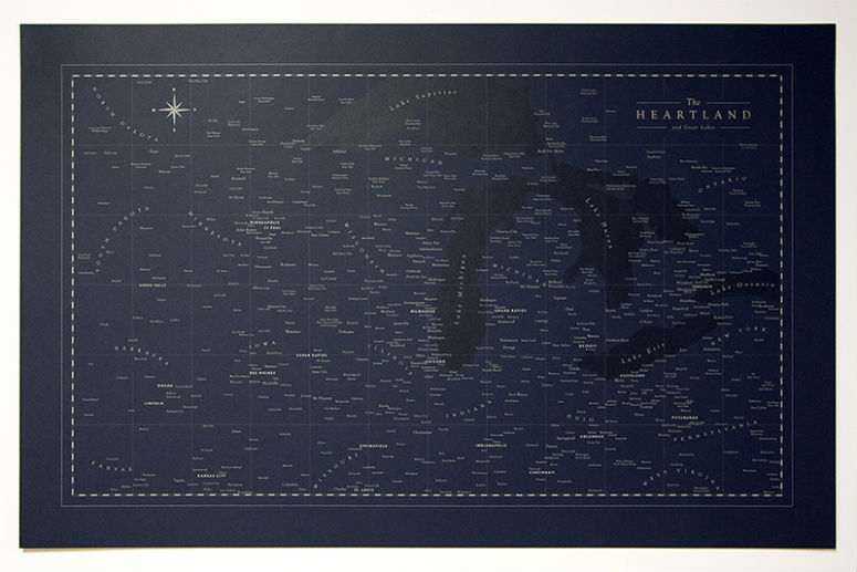 Typographic Heartland Map