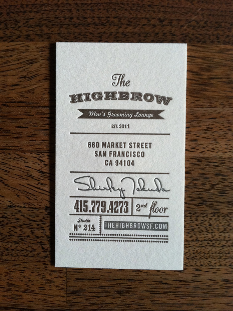 Highbrow Men's Grooming Lounge Businesess Cards