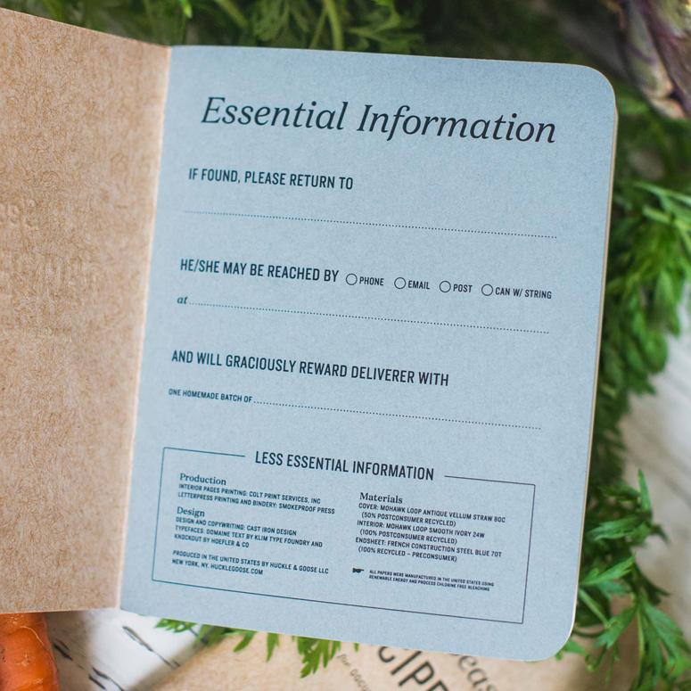 Huckle & Goose Recipe Journal