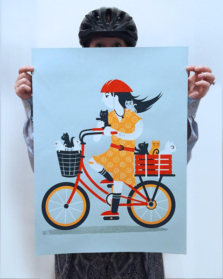 Kitten Commute Art Print