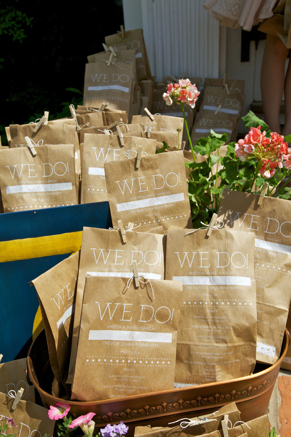 Lunch Sack Wedding Program