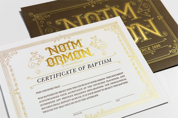 Notm Ormon Certificate and Envelope