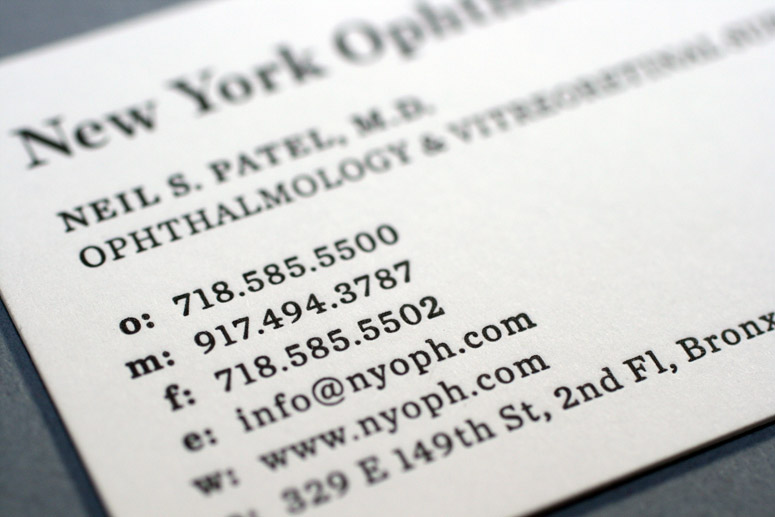 New York Ophthalmology Business Cards