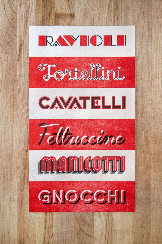 Pasta Typography Poster