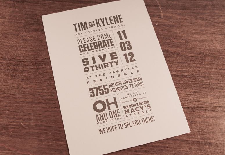 Tim & Kylene Wedding Invitations