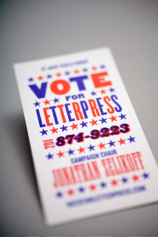Vote For Letterpress Business Card