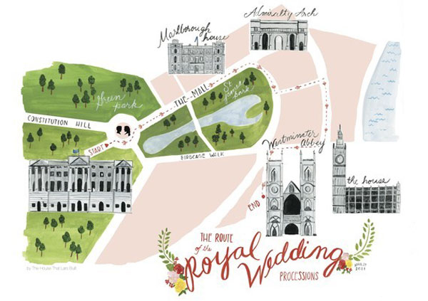 Royal Wedding Processional Map Poster