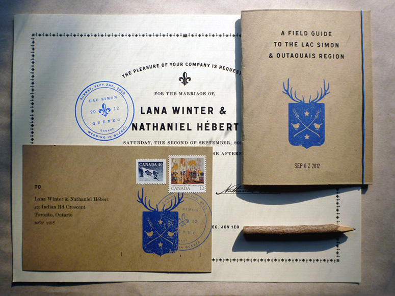 Winter-Hébert Wedding Invitation and Collateral