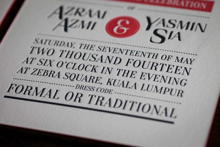 Azraai & yasmine Wedding Invitation
